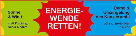 """Energiewende retten"": Großdemo am 30. November in Berlin"