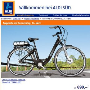 e bike bei aldi s d. Black Bedroom Furniture Sets. Home Design Ideas